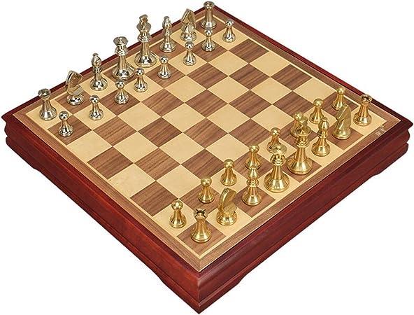 LOFAMI Juegos de Mesa Ajedrez Tablero de ajedrez Creativo Niños Desarrollo Intelectual Aprender Juguetes Metálicos Aleación de Zinc Piezas de ajedrez Almacenamiento Damas Ajedrez 37.5 cm Ajedrez: Amazon.es: Hogar