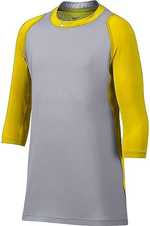 8735acf4181444 Nike Boy s Pro Cool Reglan   -Sleeve Baseball Shirt (Yellow Grey ...