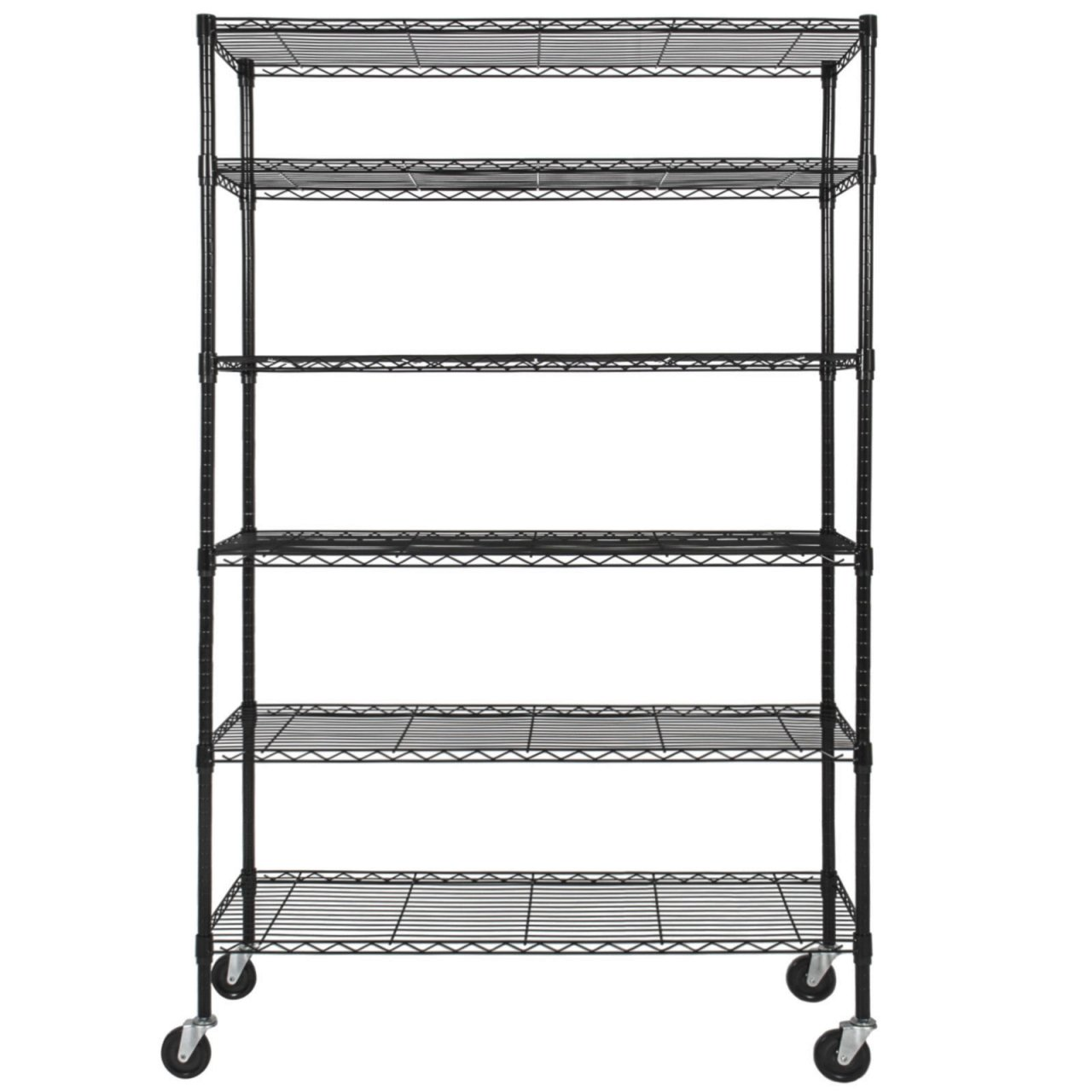 Durable Constructed 6-Tier Steel Shelving Storage Organizer Adjustable With Castor Wheels - Black Finish #1145 by Koonlert@shop (Image #2)