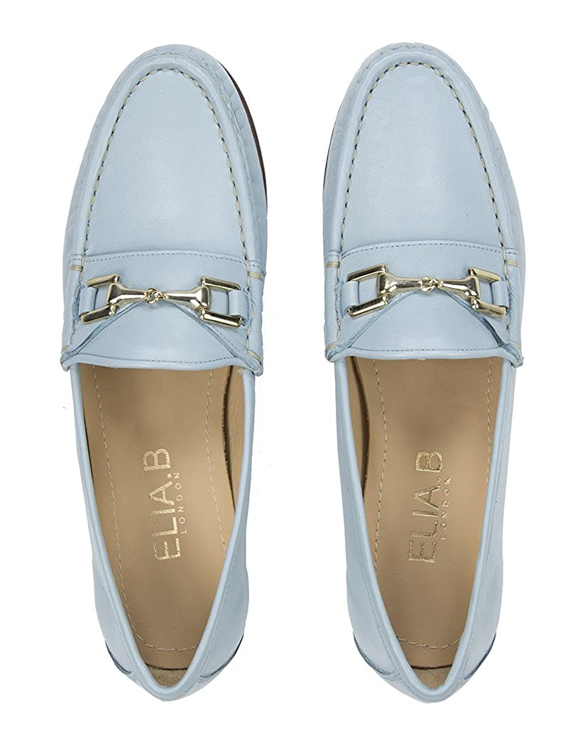9dfe8f4e0a1 Elia B Women s Gold Buckle Detail Nappa Leather Loafer - Light Blue - 39   Amazon.co.uk  Shoes   Bags