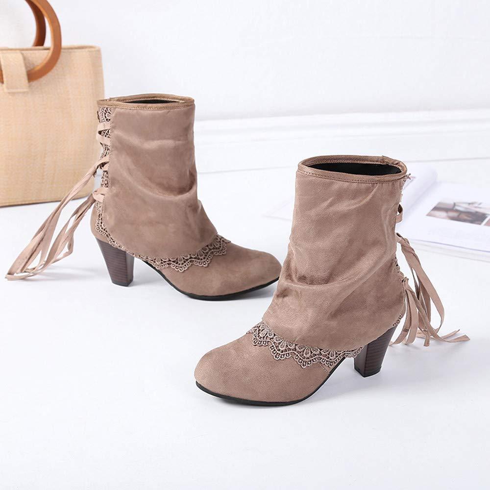 JiaMeng Mujer Otoño Invierno Plano Botines Calentar Pelaje Botas Zapatos de tacón Alto Casuales Atractivos de la Moda del Remiendo del cordón del cordón ...