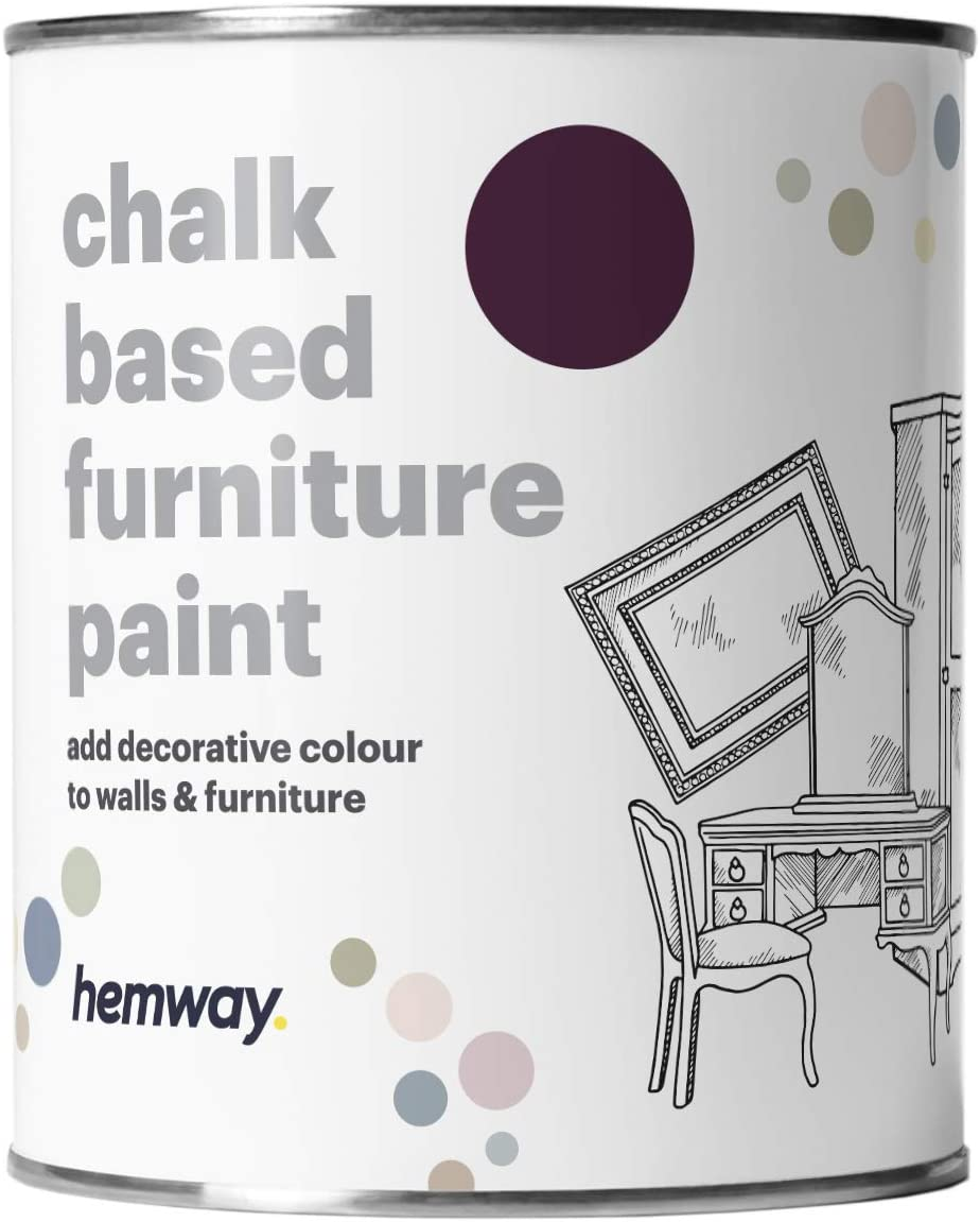 Hemway Aubergine Chalk Based Furniture Paint Matt Finish Wall and Upcycle DIY Home Improvement 1L / 35oz Shabby Chic Vintage Chalky (50+ Colours Available)