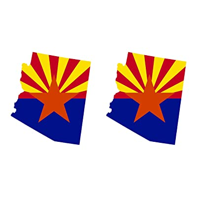 fagraphix Two Pack Arizona State Shaped Flag Sticker Self Adhesive Vinyl Decal AZ: Automotive
