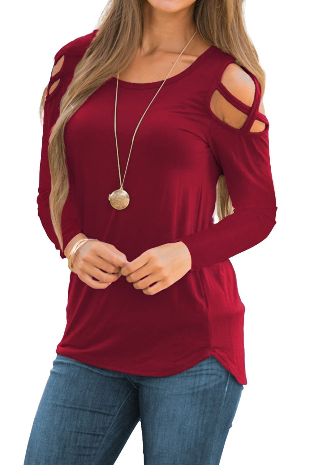 Doris Women's Casual Tunic Top Criss Cross Cold Shoulder Long Sleeve Strappy T-Shirt Tops Wine Red M