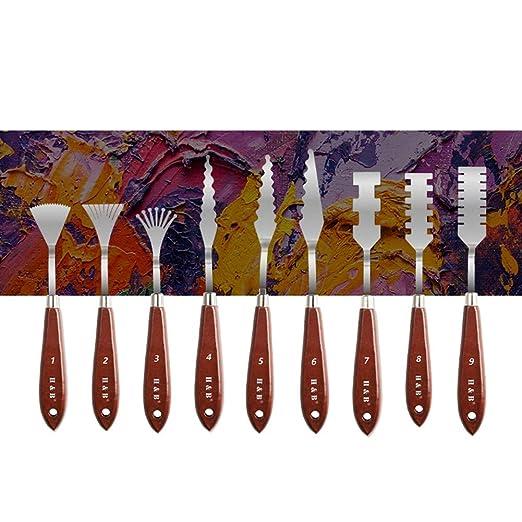 PowerBH Portable 9PCS Mango de madera Cuchillo para colorear ...
