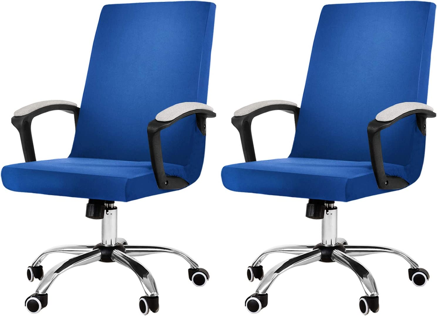 JIATER Stretchable Office Chair Cover Pack of 2 Computer Chair Slipcovers Universal Boss Chair Seat Covers Modern High Back Chair Slip Cover for Leather Desk Chair (2, Royal Blue)