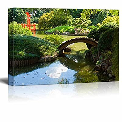 Japanese Garden and Pond with a Red Zen Tower Wall Decor, Crafted to Perfection, Dazzling Object of Art