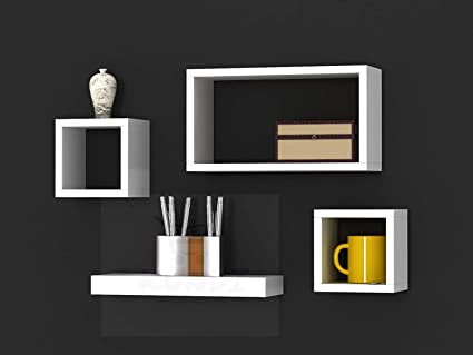Kundi Intersecting Floating Shelves 4 Cube Square Wall Mounted Shelves Wood Home Furniture Accent Decorative Wall Shelf Black 47 Cm X 10 Cm X 65 Cm Black Modern4 Amazon In Furniture