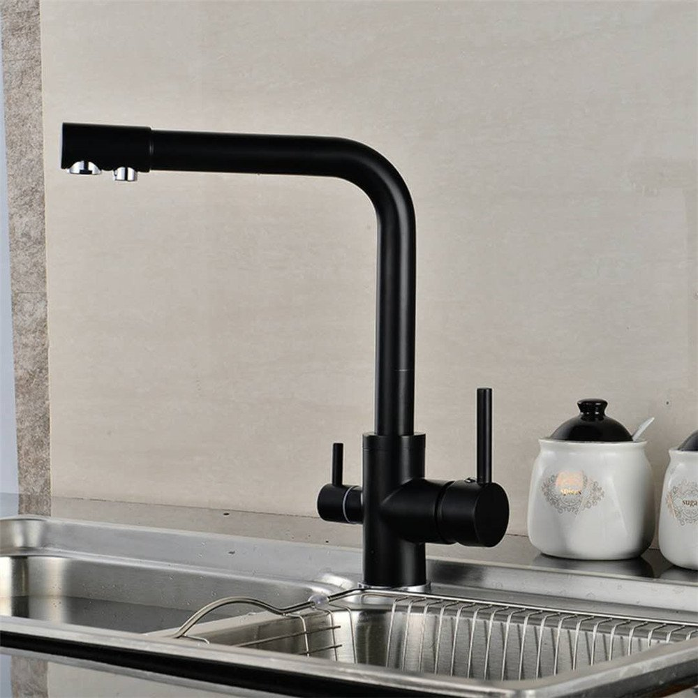 Bijjaladeva Antique Bathroom Sink Vessel Faucet Basin Mixer Tap The Kitchen cold water slot-cock with pure water use can be redated up to drink the tap black plating