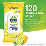 Dettol Multipurpose Antibacterial Disinfectant Surface Cleaning Wipes Lemon 120pk
