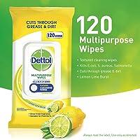 Dettol Multipurpose Wipes, Lemon Lime Burst, Pack of 120