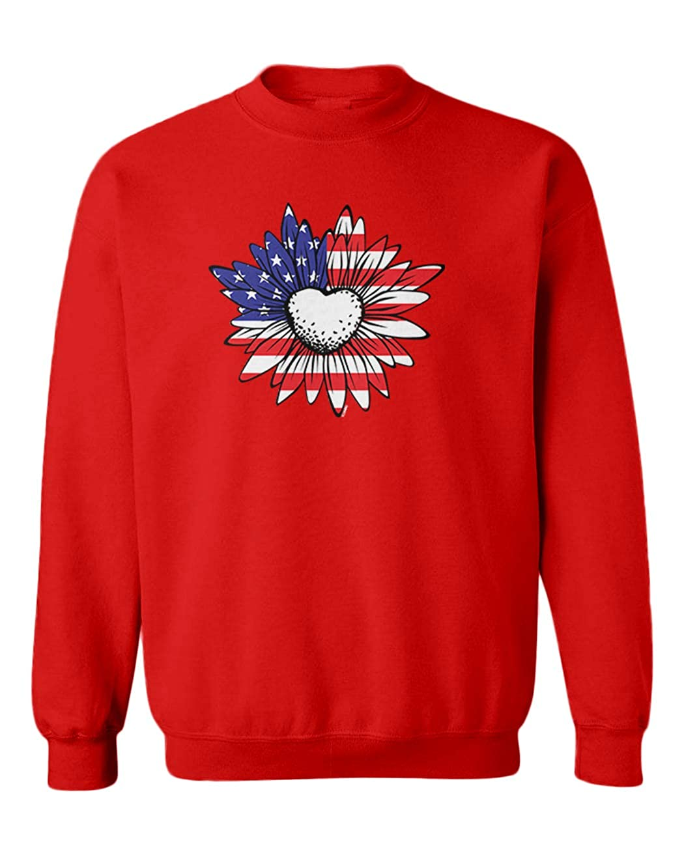 Flower American Youth Fleece Crewneck Sweater USA Flag Daisy