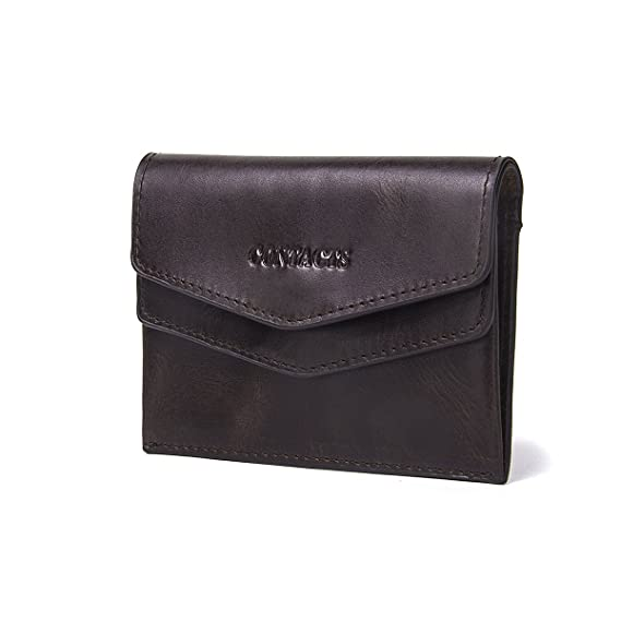 Herren-accessoires Contacts Genuine Leather Mini Slim Id Card Coin Holder Money Clip Wallet Dark