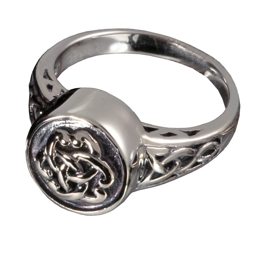 Memorial Gallery 2003S-8 Antique Celtic Ring Sterling Silver Cremation Pet Jewelry, Size 8
