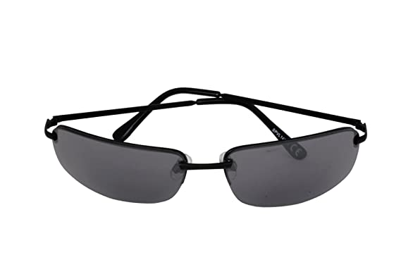 Foster Grant SPVL 14914 FG113 Unisex Semi Rimless Rectangular Sunglasses Black Metal Frame & Arms Black UV400 Lenses 100% UV Protection CAT 2 at Amazon ...