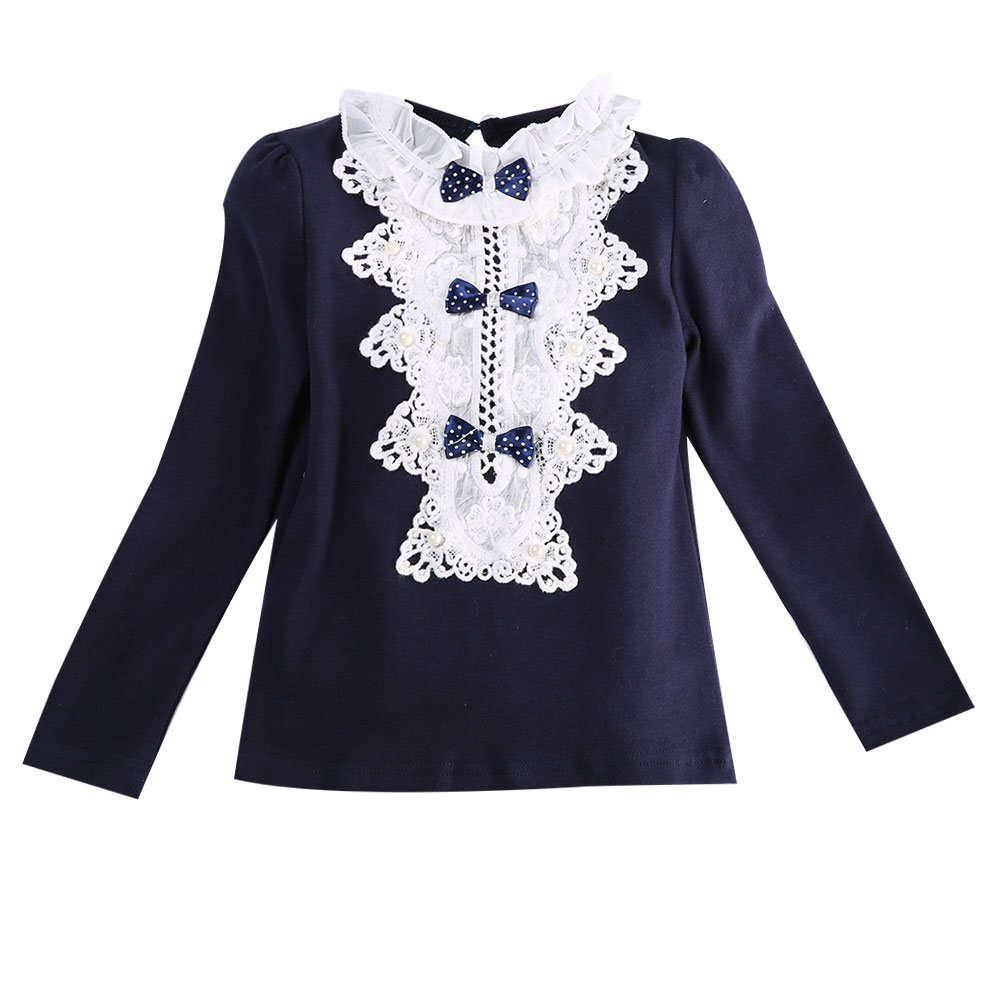 Toddler Girls Bowknot Cotton Long Sleeve ClothesT Shirt Floral Lace Blouse Tops