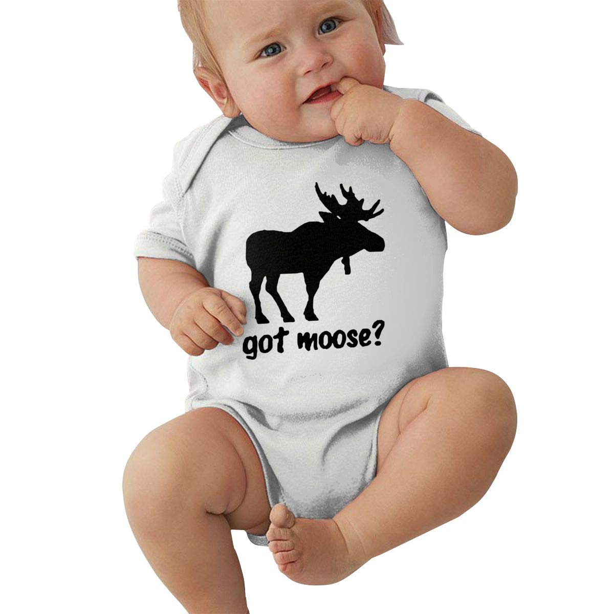 U88oi-8 Short Sleeve Cotton Rompers for Baby Girls Boys Soft Got Moose Crawler