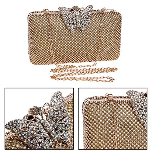 Chain Womens For Clutches Gold Dress Handbags Bags Wedding Purse Evening Crystal wXxUAxOgnq