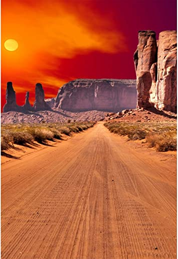 7x10 FT Western Vinyl Photography Background Backdrops,Image Art of Cowboy Riding Horse Towards Sunset in Wild West Desert Hero Background for Photo Backdrop Studio Props Photo Backdrop Wall