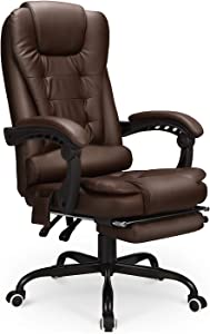 Esright Reclining Leather Office Chair with Retracable Footrest, Ergonomic High Back Executive Adjustable Office Chair (Brown)