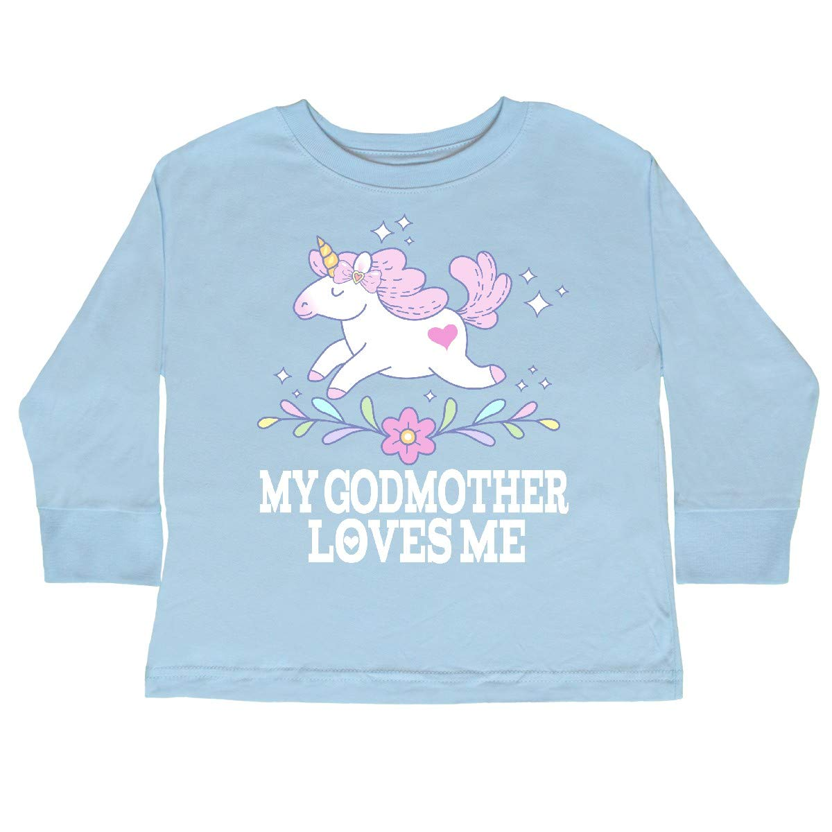 inktastic My Godmother Loves Me Unicorn Toddler Long Sleeve T-Shirt