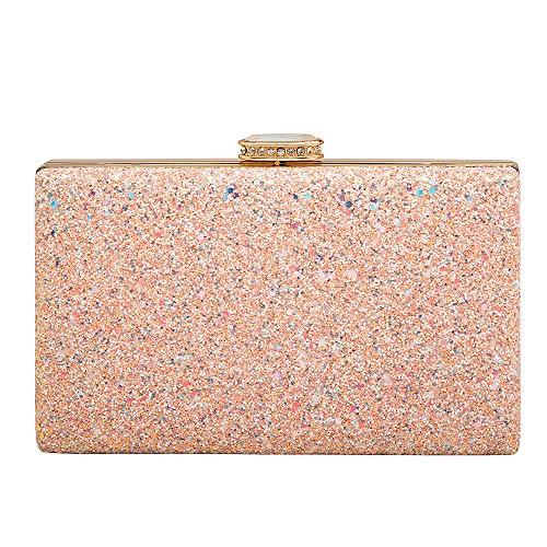 Women's Elegant Sparkling Glitter Evening Clutch Bags BlingEvening Handbag Purses For Wedding Prom Bride(Pink) (Sparkling Purse Clutch)