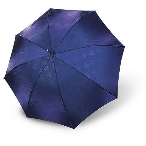 Paraguas largo mujer estampado elegante Vogue automatico antiviento azul