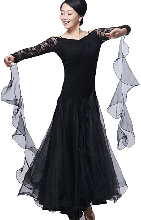 a39168dca YC WELL Ballroom Dance Dresses Women Flamenco Modern Waltz Tango Costumes (Black,S)