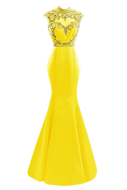 SDRESS Women's Elegant Sequines Cap Sleeve High Neck Long Mermaid Formal Evening Dress Yellow Size 4