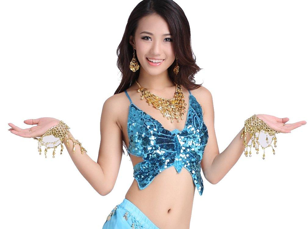 ZLTdream Lady's Belly Dance Bandage Butterfly Bra Top Blue