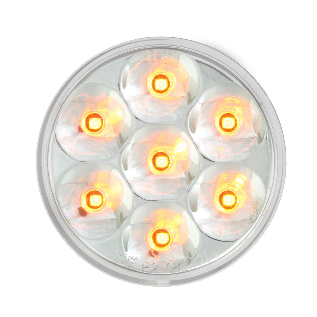 2.5 Low Profile Pearl Amber//Clear 7 LED Dual//3Wires Grand General 76586 Light