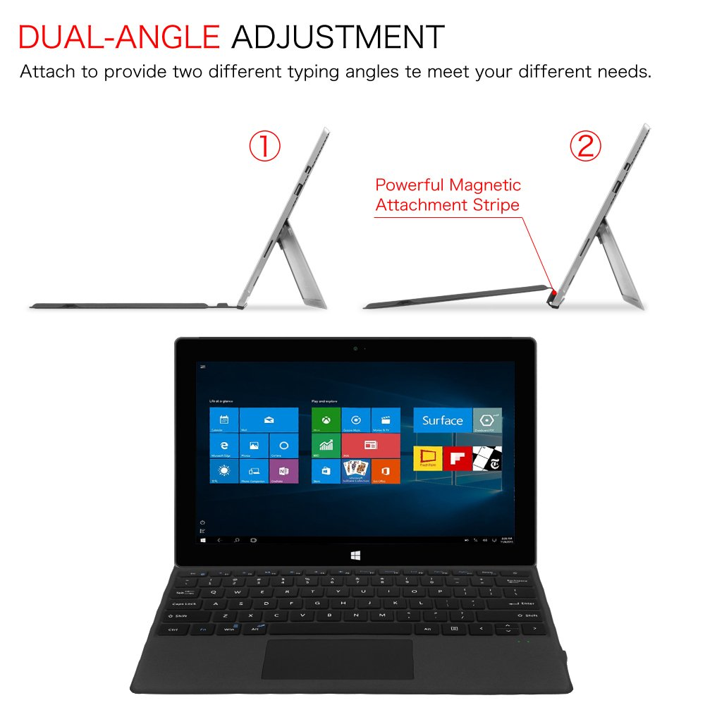 Fintie Microsoft Surface Pro 2017 / Pro 4 / Pro 3 Type Cover, Ultra-Slim Portable Wireless Bluetooth Keyboard with Two-Button Trackpad and Built-in Rechargeable Battery (Black) by Fintie (Image #4)