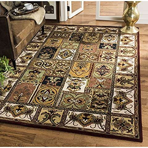 Safavieh Classic Collection CL386A Handmade Traditional Oriental Multicolored Panels Wool Area Rug (11' x - Multi Persian Panel
