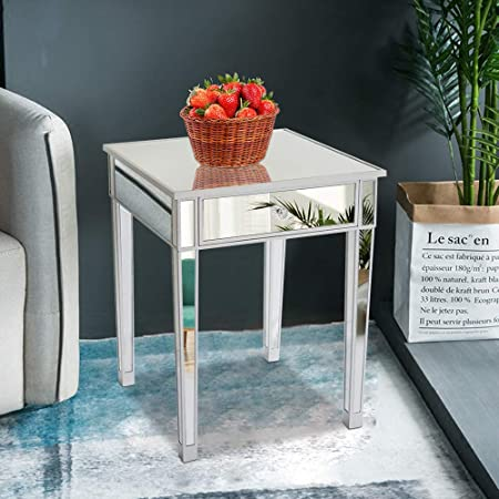 Goujxcy Nightstand,Mirrored Nightstand Bedside End Table, Home Storage Accent Mirror Finish