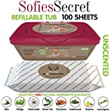SofiesSecret XL PET WIPES for Dogs+Cats All in One Grooming, Tub 100 Count, 100% Natural & Organic Extracts, Extra Thick, Ultra Soft, Extra Large,Hypoallergenic, Cruelty Free & Vegan