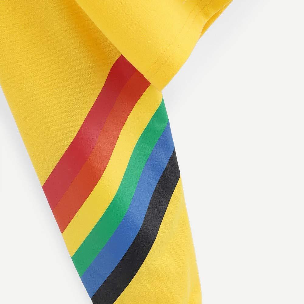 URIBAKE Women Hooded Crop Tops Long Sleeve Rainbow Letter Print Trendy Pullover Hoodie Sweatshirt Blouse Tops