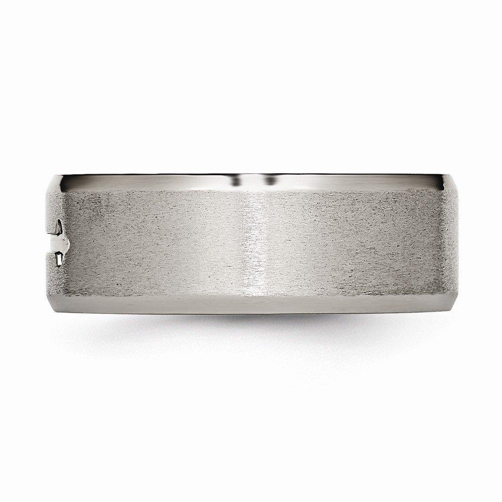 Jewel Tie Titanium Cross Design 8mm Satin Beveled Edge Wedding Band