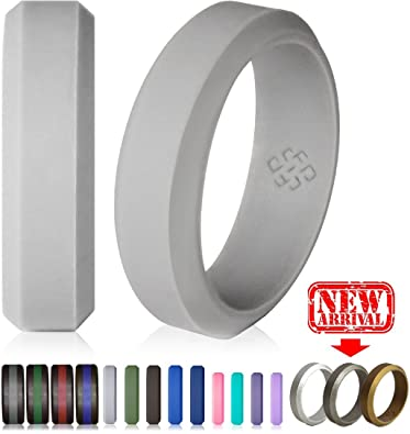 Amazon Com Silicone Wedding Ring Light Grey Band His And Hers