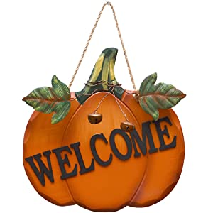 "Attraction Design Wood Pumpkin Welcome Sign Fall Front Door Decor, Rustic Hanging Welcome Door Sign for Autumn Harvest Thanksgiving Halloween Door Wall Decoration Indoor Outdoor 9.75""X9.5"""