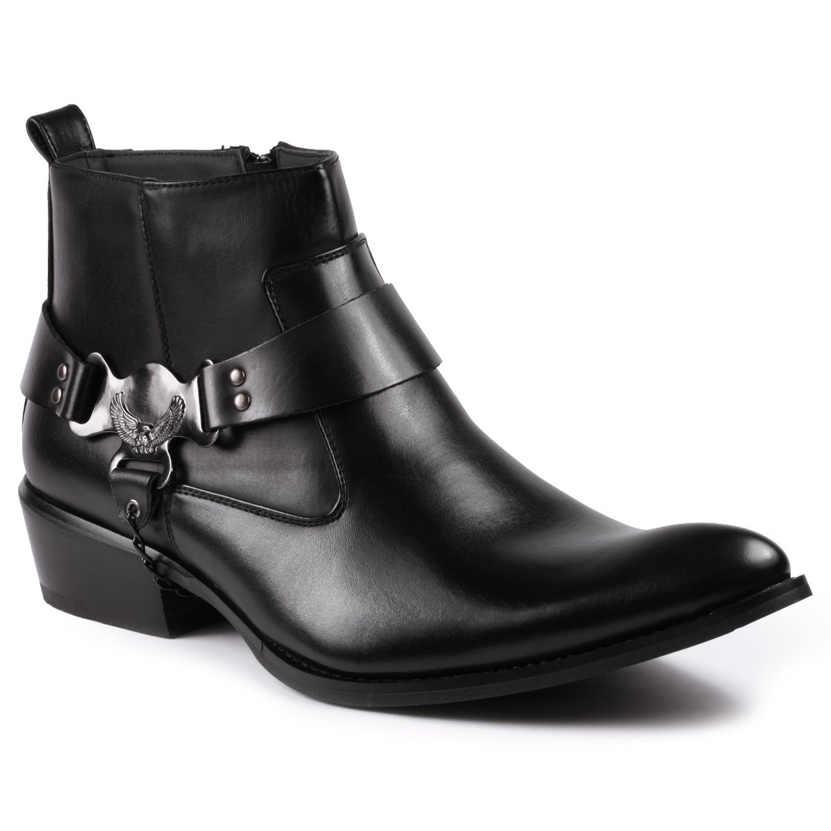 Metrocharm Diego-03 Men's Belt Chain Strap Western Cowboy Boots (13 D(M) US, Black)