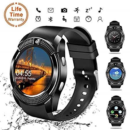 Android Smartwatch Bluetooth,Impermeable Reloj Inteligente con Cámara,Bluetooth Tactil Telefono Smart Watch Sport Fitness Tracker Smartwatches Pulsera Inteligente para Android IOS iPhone Samsung Sony