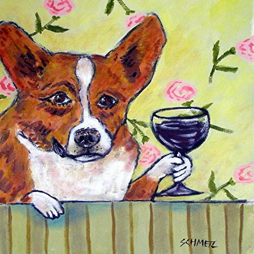 Corgi at the Wine Bar dog art tile coaster gift (Corgi Tile)