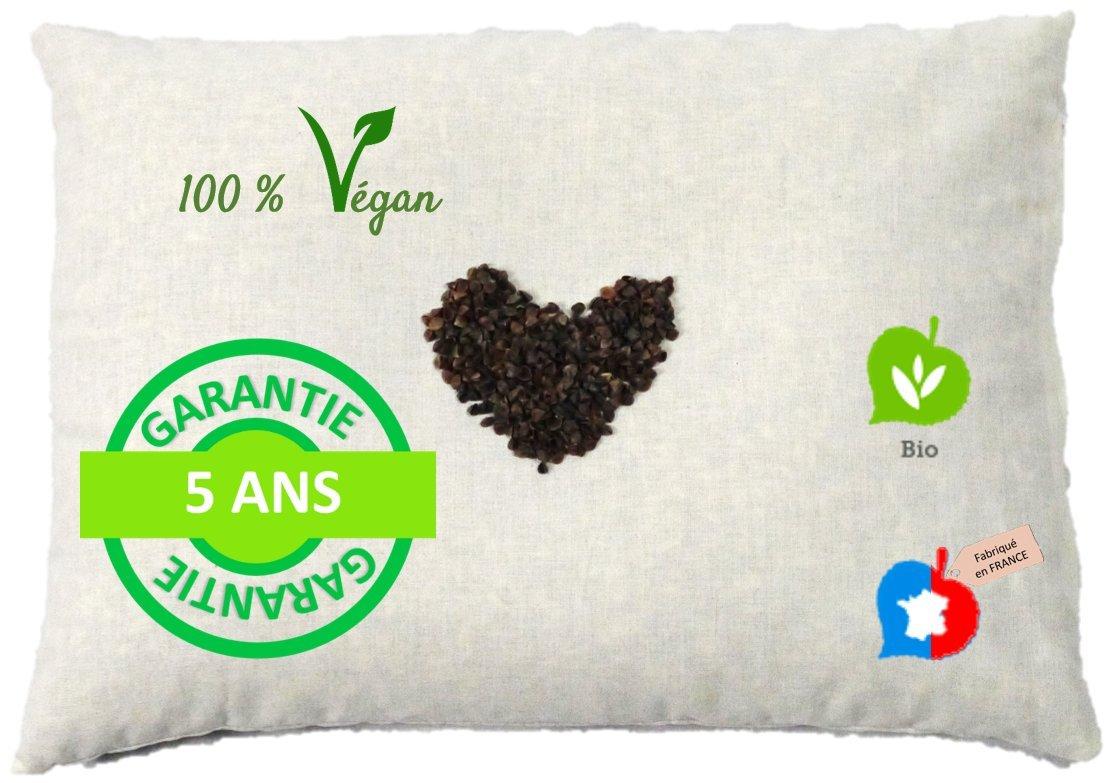 Cuscino biologico di grano saraceno Fatto in Francia La Cocarde Verte Cuscino cervicale organico in cotone biologico per cuscinetti e verdure Cuscino cervicale rigido per uso domestico Vegano