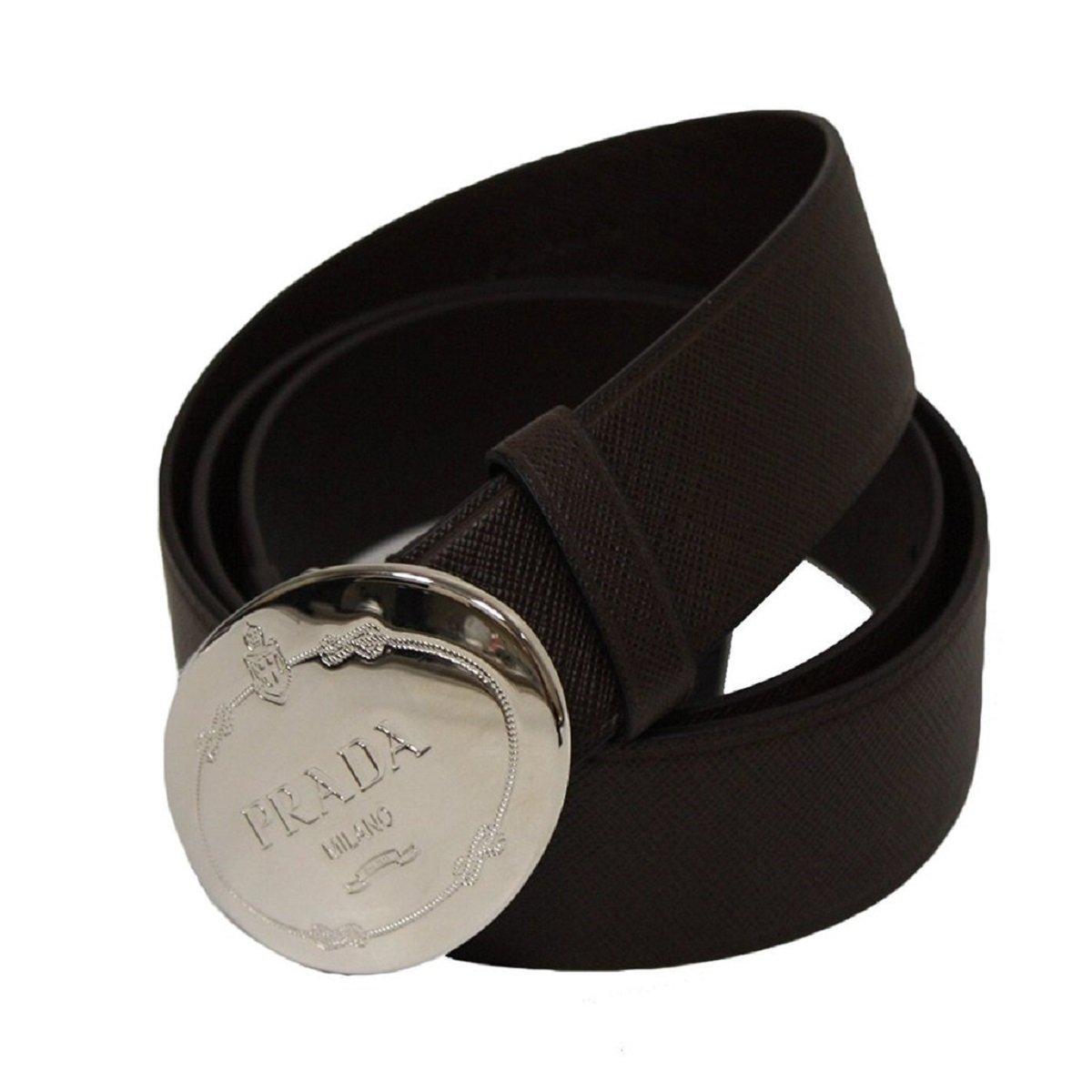 3a9080dd4fa7 Prada Black Saffiano Leather Plaque Buckle Belt for Men 2CM046 Size  100 40  at Amazon Men s Clothing store