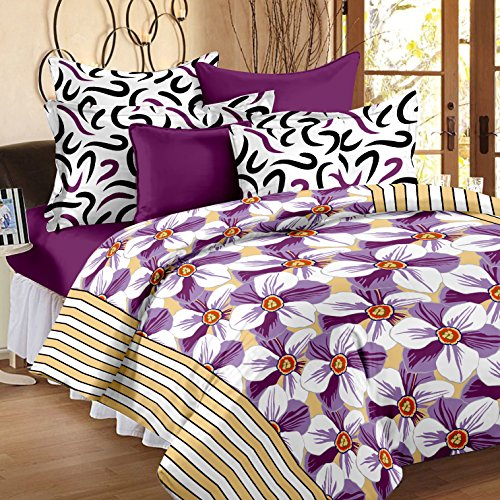 Story@Home 186 TC 100% Cotton Multicolor 1 Double Bedsheet With 2 Pillow Cover Multi Color