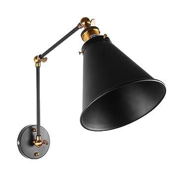 Lemonbest Industrial Swing Arm Wall Sconce Shade Adjustable Handle Rustic Loft Light Lamp Fixtures