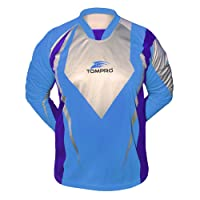 Tompro Spectra Men's Football Soccer Elbow Padding Foam Padded Goalkeeper Goalie Jersey Long Sleeve Shirt Top Sky Blue / Silver / Dark Violet Adults Size Large