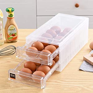 24 Grid Drawer Type Egg Storage Box Egg Crisper Kitchen Egg Tray Refrigerator Storage Container Plastic Egg Container Case Refrigerator Fresh Storage Boxs Organizer
