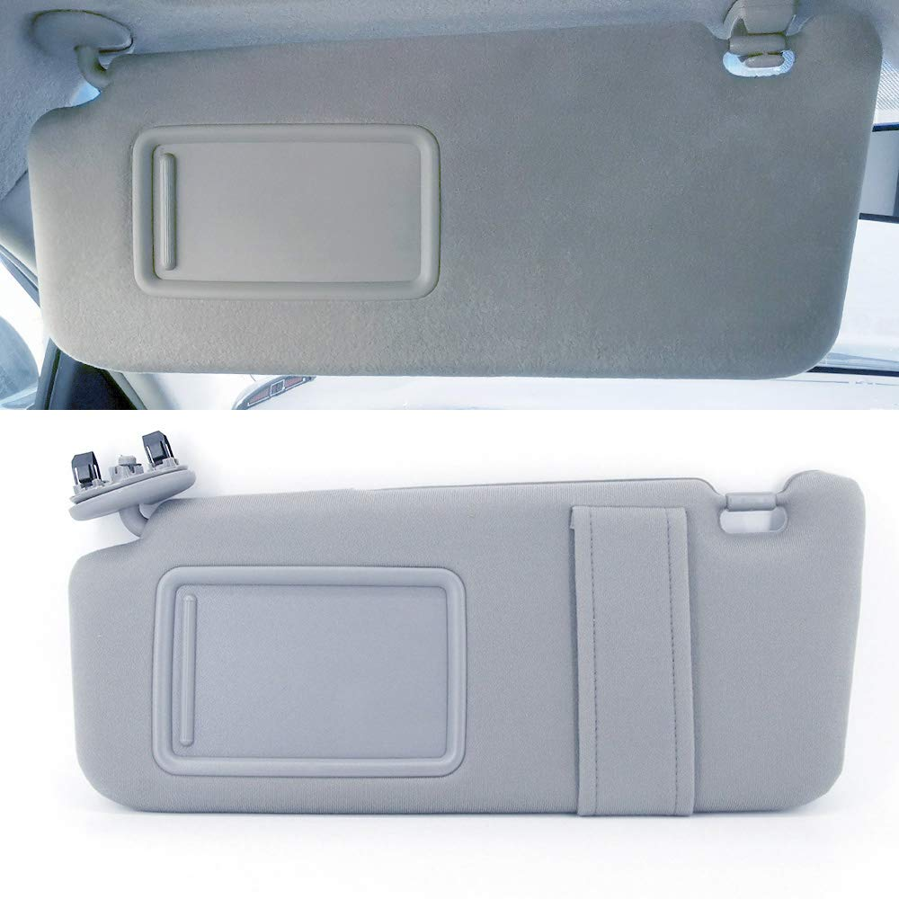 Light Gray Sun Visor for 2006 2007 2008 2009 2010 2011 Toyota Camry Without Sunroof and Lights Left Driver Side Replaces 74320-06780-B0 7432006780B0