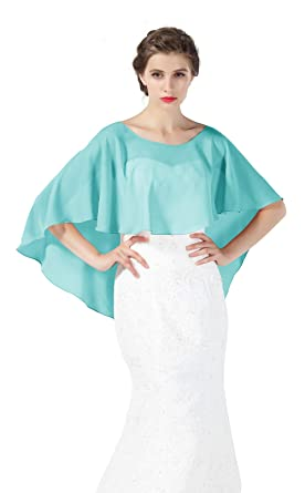 BEAUTELICATE Chiffon Shawl Cape High-Low Tops Capelet for Women Summer Ladies Bridal Wedding Evening